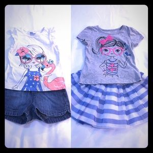 2 Outfits Toddler Girl Size 4T